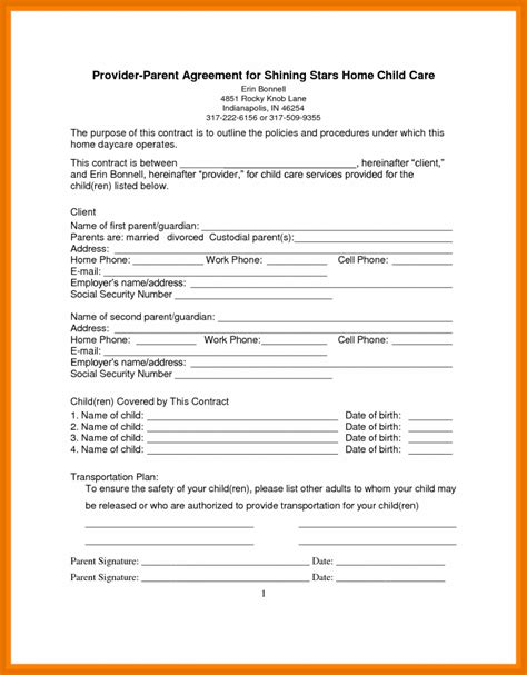 daycare contract template 6 7 daycare contract form letterformatexle