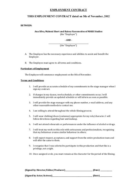 Employment contract a2 media