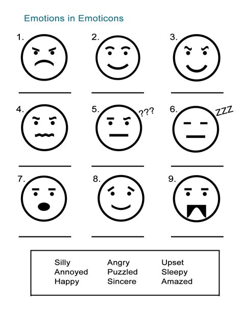 feelings  emotions worksheets newatvsinfo