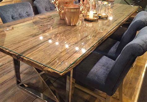 kensington reclaimed wood dining table  glass top
