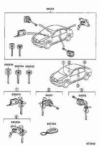 2004 Toyota Corolla Trunk Lock Cylinder And Key  Cylinder