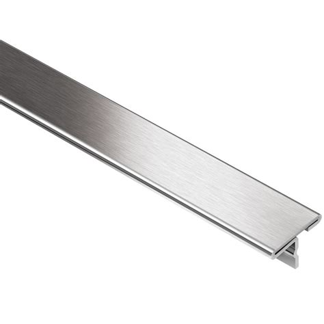 shop schluter systems 9 16 in w brushed stainless steel t