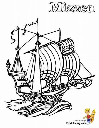 Ship Coloring Pirate Drawing Sailing Mizzen Boys