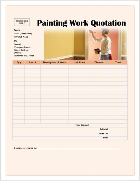 painting work quotation template ms office documents