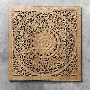 Antique lotus wood carving wall art hanging siam sawadee for Antique wall decor