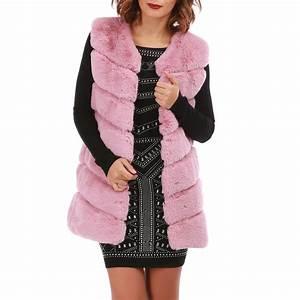 Veste Sans Manche Femme Fourrure : veste rose en fausse fourrure sans manches femme pas cher la modeuse ~ Melissatoandfro.com Idées de Décoration