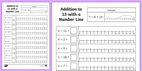 addition to 15 with a number line worksheet worksheet addition 15
