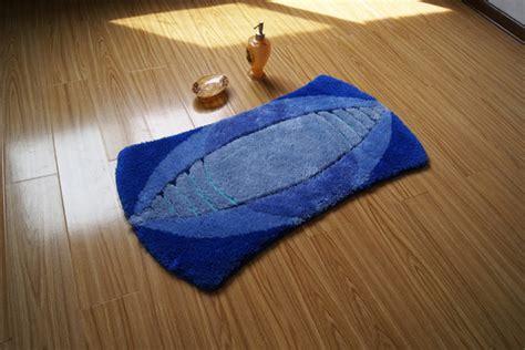 Unique Shape Rugby Design Non-slip Blue Bathroom Mat Floor