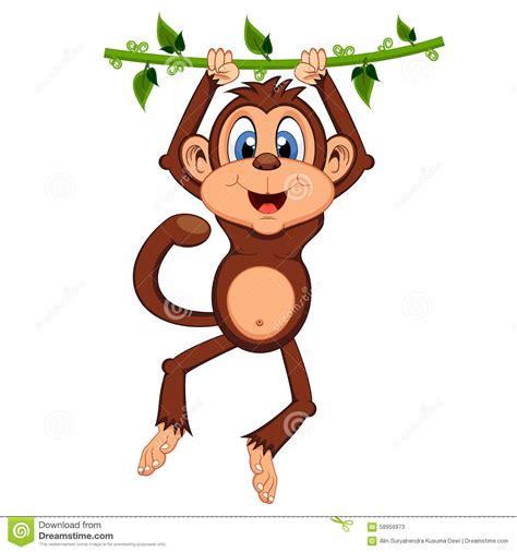 macaco  balanca em desenhos animados das videiras