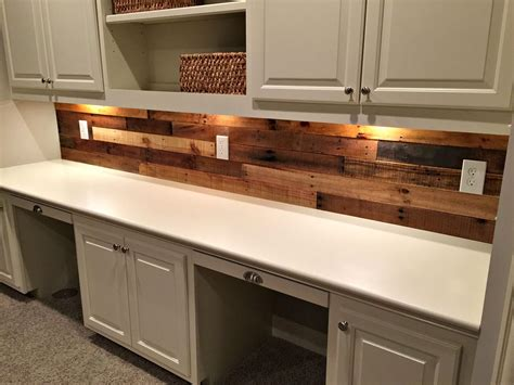 Kitchen Desk Backsplash Ideas by Pallet Wood Wall With Built In Desk For The Home Wood