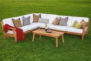 5 pc sectional sofa set teakwood teak wood garden indoor for Indoor outdoor sectional sofa