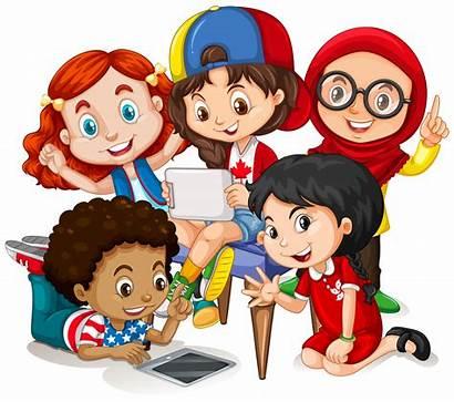 Children Clipart Working Vector Happy Illustration Together