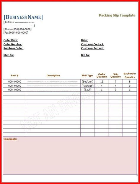 packing slip templates  word templates