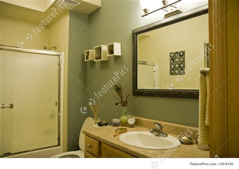 Interior Architecture Green And Brown Bathroom Stock