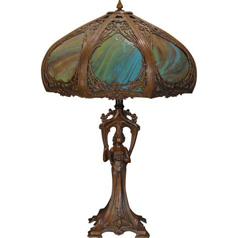 slag glass l shade gorgeous gothic art nouveau figural l w cattail slag