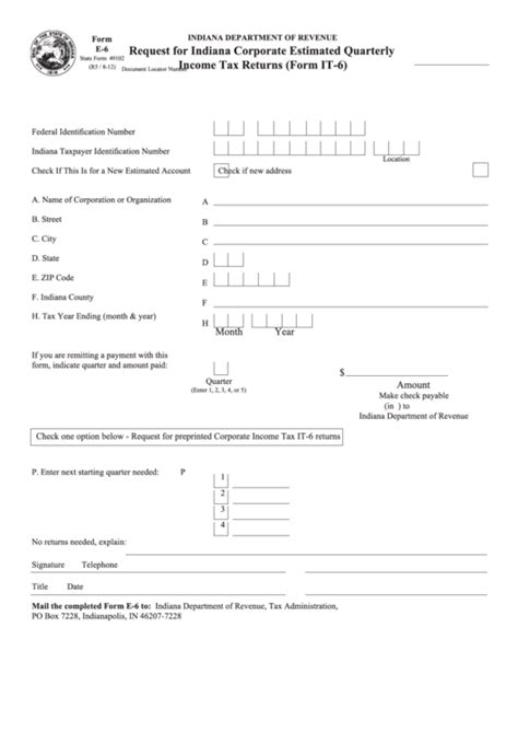 Form E 6 Request For Indiana Corporate Estimated Quarterly Income Tax Returns 2012 Printable