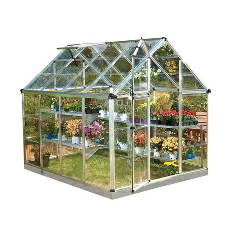 grow ls home depot palram snap and grow 6 ft x 8 ft silver polycarbonate