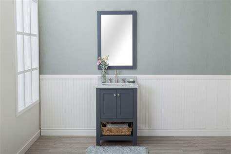 grey shaker 24 quot bathroom vanity open shelf w marble top