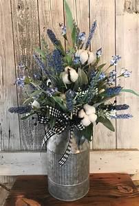 blueberry farmhouse floral arrangement with cotton stems