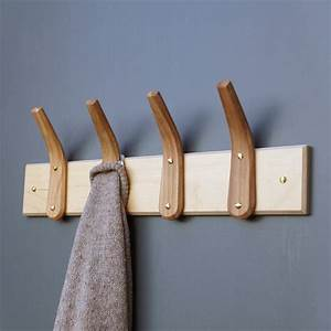Curved, Wooden, Coat, Hooks, And, Backboard, By, Layer, Tree