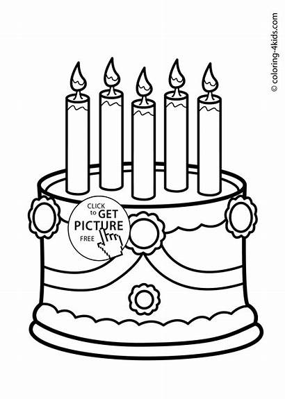Cake Coloring Birthday Pages Party Happy Cakes