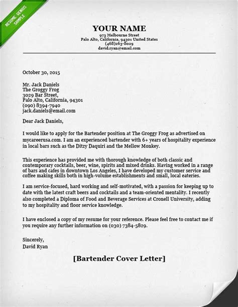 Free Sles Of Resumes And Cover Letters by Bartender Cover Letter Resume Genius