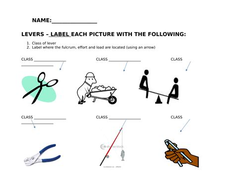 levers worksheet  images simple machines