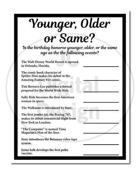 Why not spring it on your relatives at christmas and watch them wither into confusion! 1970 Birthday Trivia Game 1970, Birthday Parties, Fun Game Instant Download | Birthday games ...