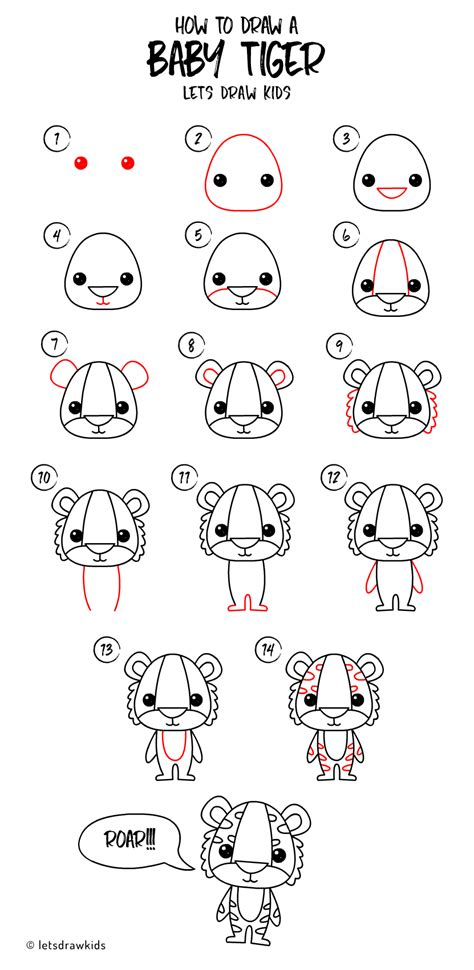 draw  baby tiger easy drawing step  step