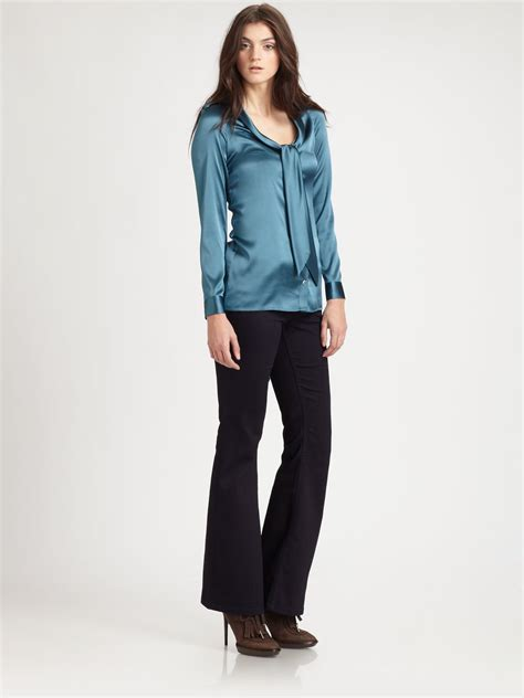 burberry blouse burberry silk satin tie blouse in blue petrol lyst
