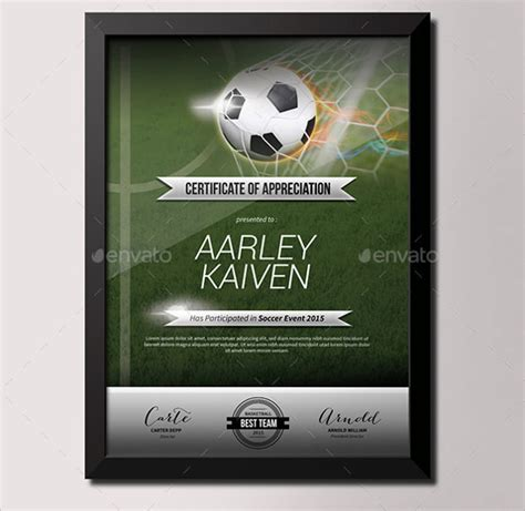soccer certificate template    documents