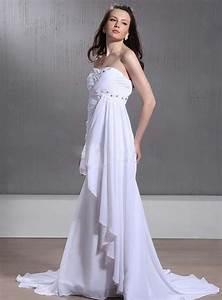 Empire waist sweetheart chapel train chiffon wedding dress for Chiffon wedding dress empire waist