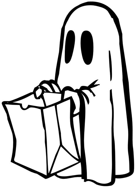 onlinelabels clip art ghost  bag black  white
