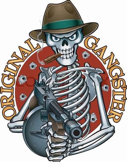 Gangster Skeleton Mafia Gun Holding Machine Vector