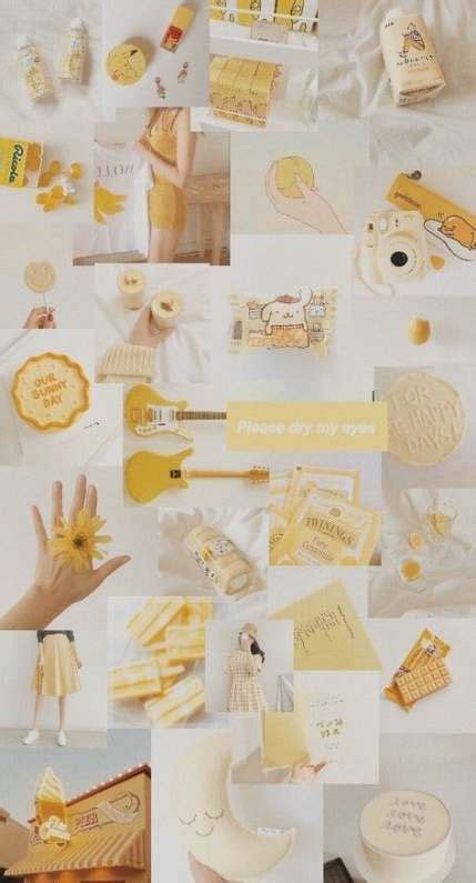 wall paper aesthetic collage yellow  ideas