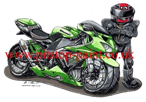 Motorcycle Caricature Drawing