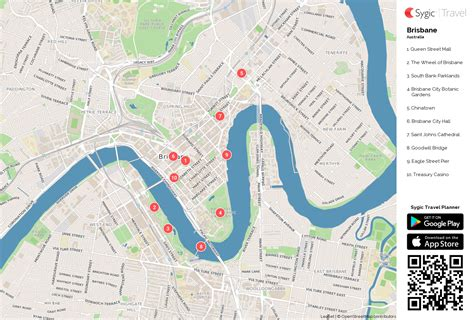 brisbane printable tourist map sygic travel