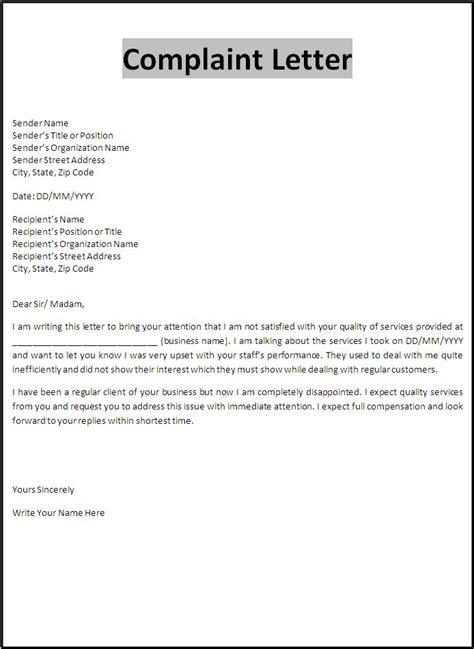 complaint business letters best letter exles