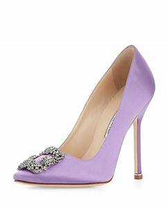 Manolo blahnik Hangisi Satin Crystal-toe Pump in Purple | Lyst