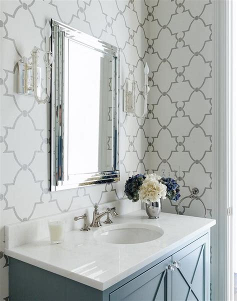 gray bathroom  quatrefoil wallpaper transitional