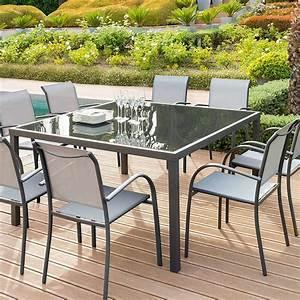Table Carrée De Jardin : table de jardin carr e piazza verre anthracite graphite hesp ride 8 places ~ Melissatoandfro.com Idées de Décoration