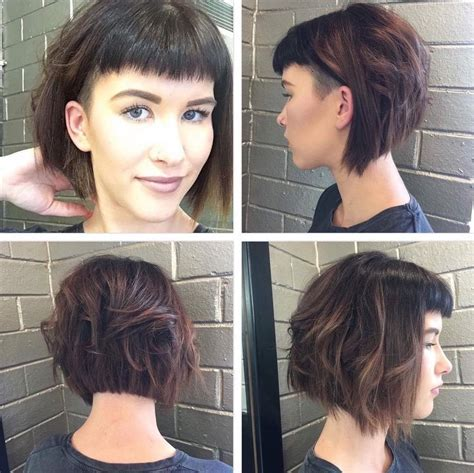 Women's Short Angled Undercut Bob with Messy Waves and