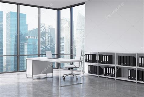 with a city view a ceo workplace in a modern corner panoramic office with Office