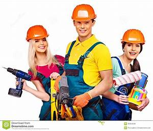 Group People Builder With Construction Tools  Stock Photo