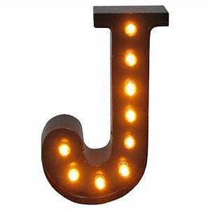 metal marquee letter j threshold target With letter j light