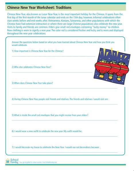 reading comprehension worksheet with new year