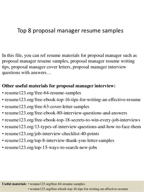 Rfp Manager Resume by Top 8 Manager Resume Sles