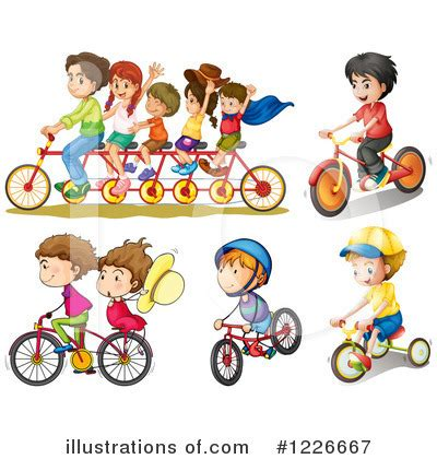 Family Bike Riding Clip Art
