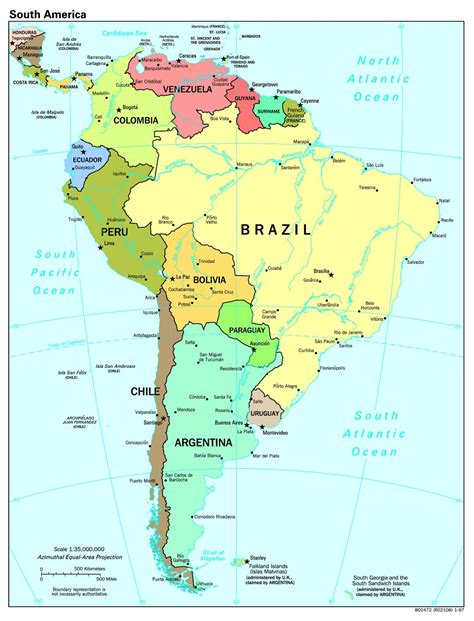 large scale political map  south america  major