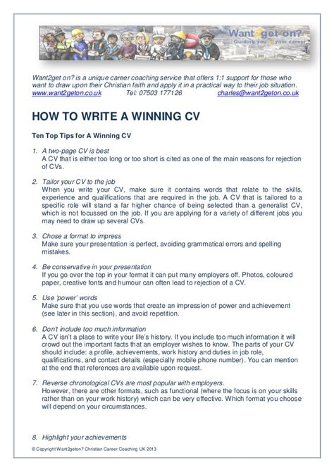 What To Put On A Cv For A by How To Write A Winning Cv